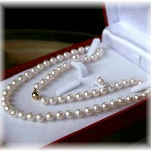 8mm Shell Pearl Necklace and Earring Set